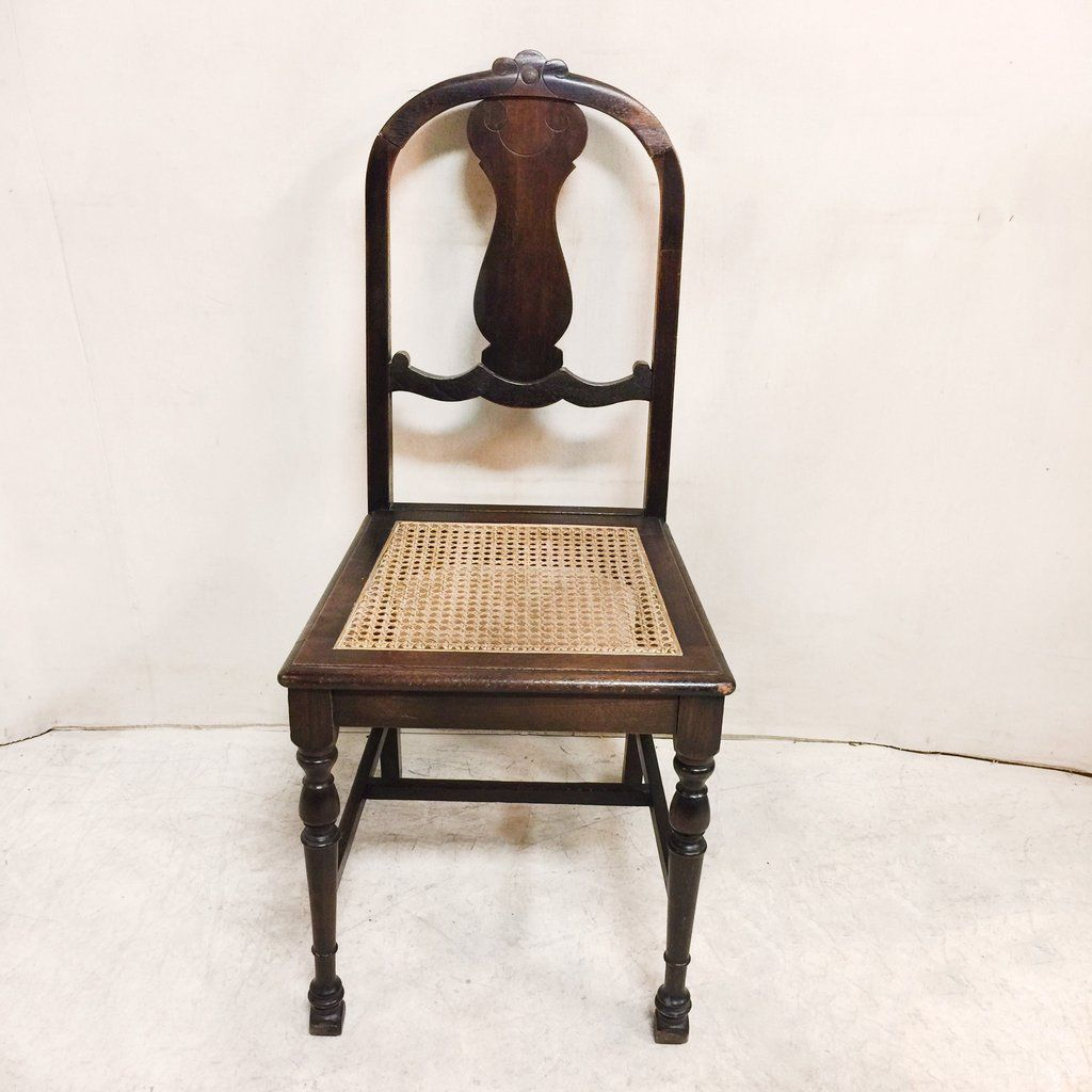 Antique Cane Seated Splat Back Occasional Chair $125