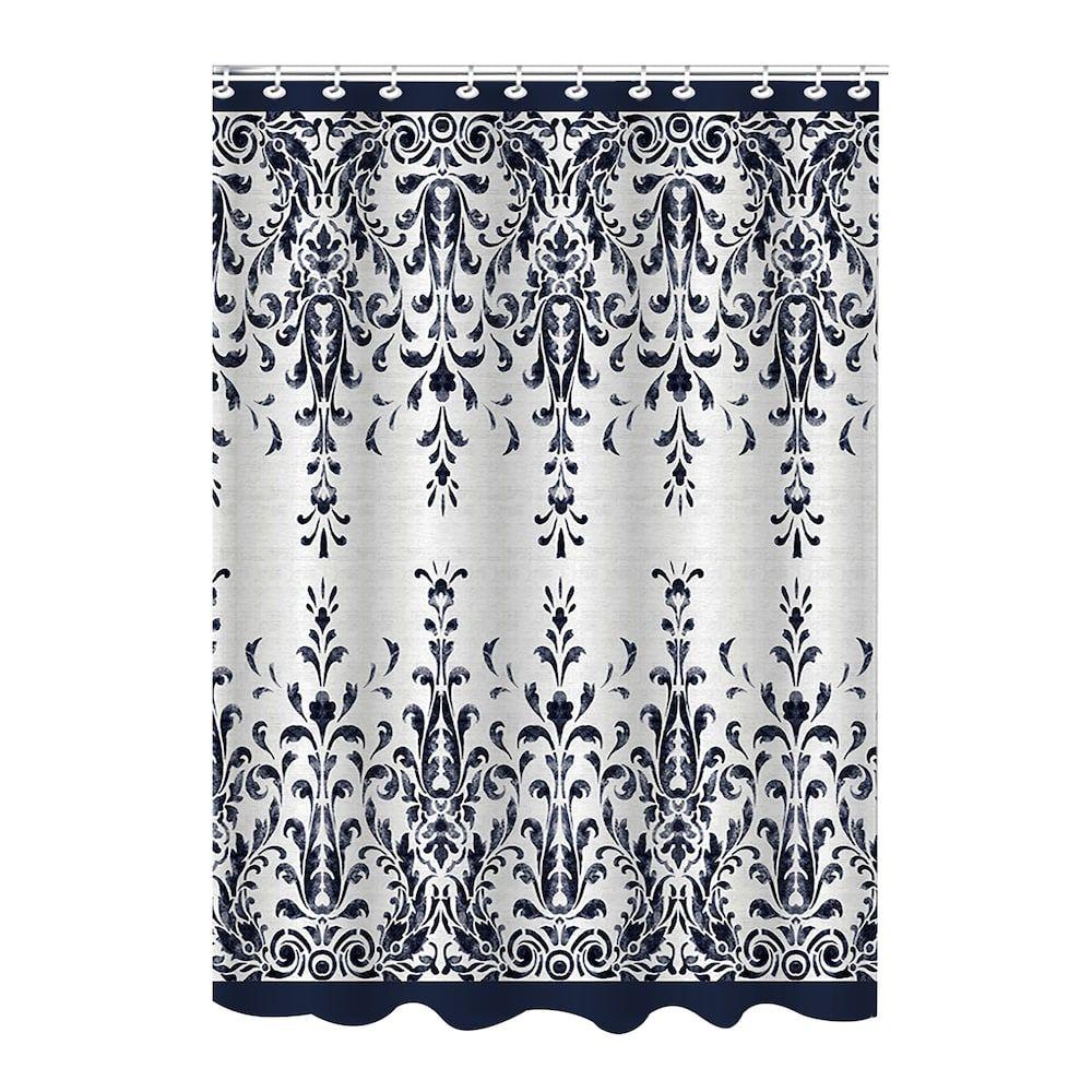 Bath Bliss Jacquard Lace Shower Curtain Black