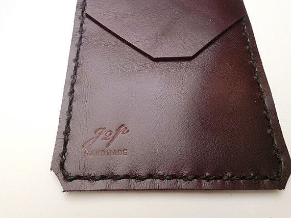 Purple Leather Pocket Protector sleeve small by G2Pleather on Etsy