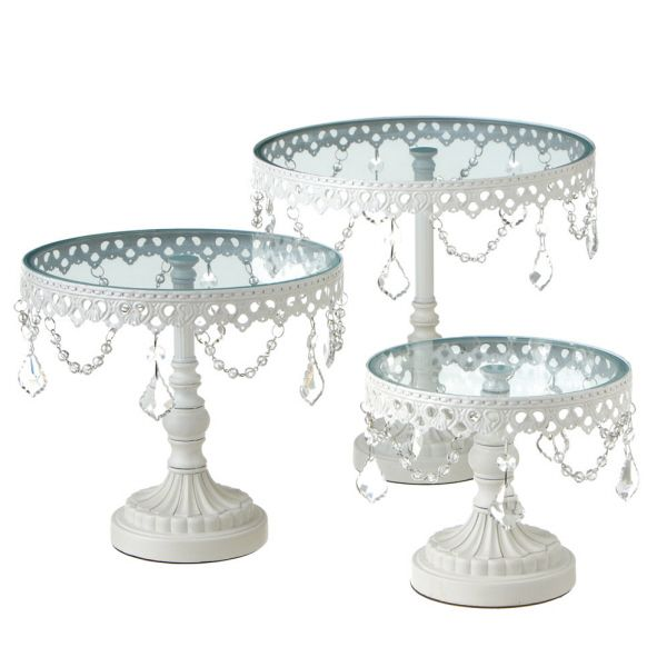 Wedding Cake Stands For Sale: White And Glass Cake Stand