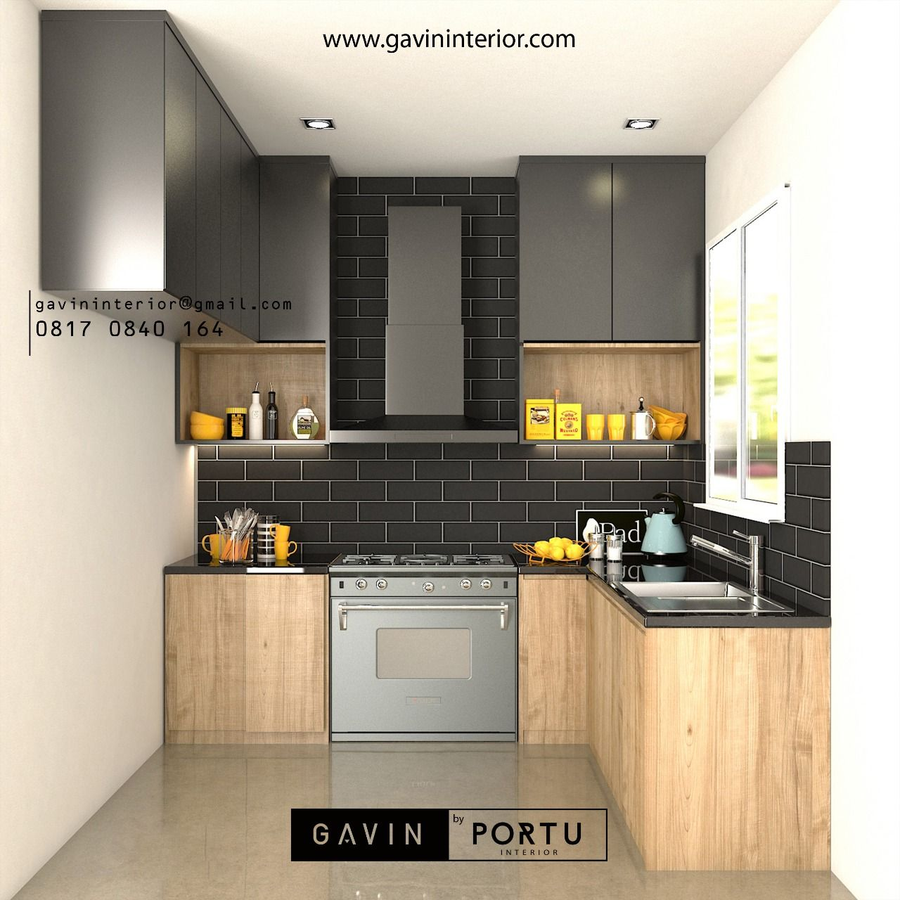 Design 3d kitchen set modern minimalis full plafon letter u dengan sentuhan skandinavian untuk klien kami