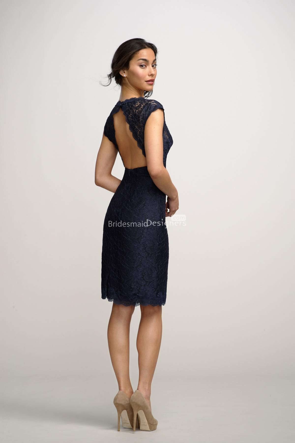 deep v neck lace cover navy blue bridesmaid dress