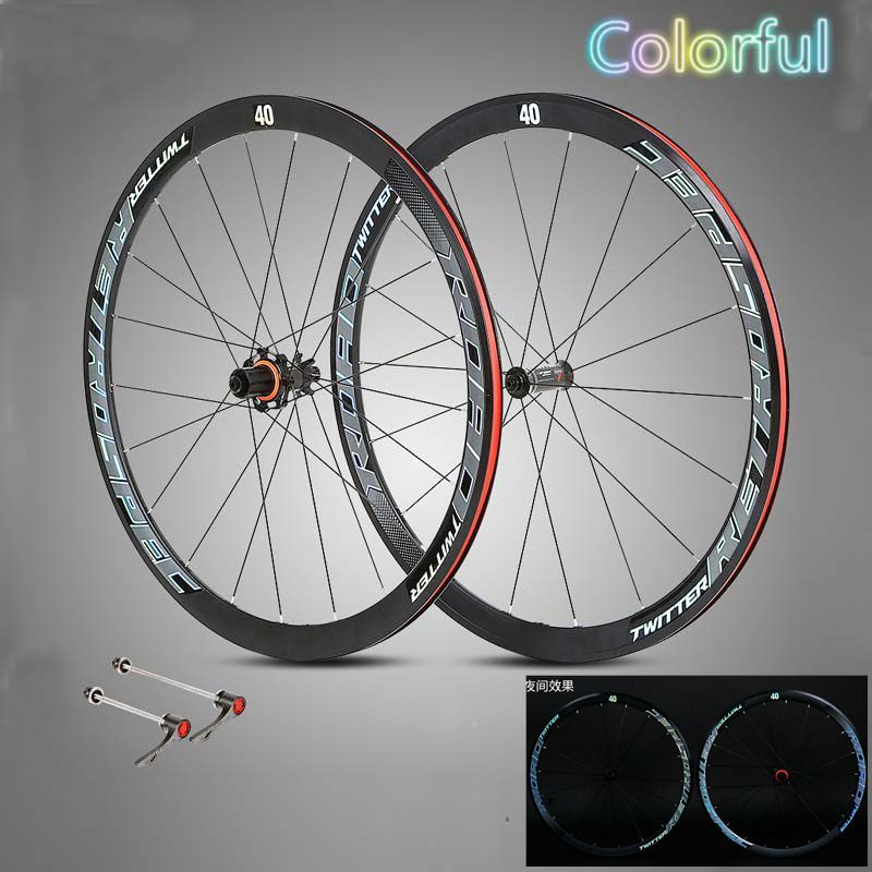 44f173af568 Ultra Light Road Bike Wheel 700C Bicycle Clincer Wheelset+quick release  Carbon Fiber Hub 40mm