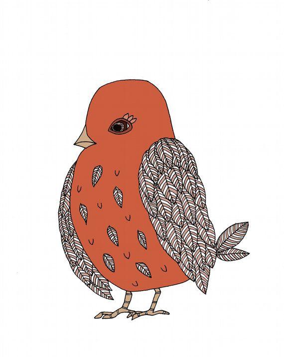 Red Bird Art Print Children Art Digitally by sweetmelodydesigns, $15.00