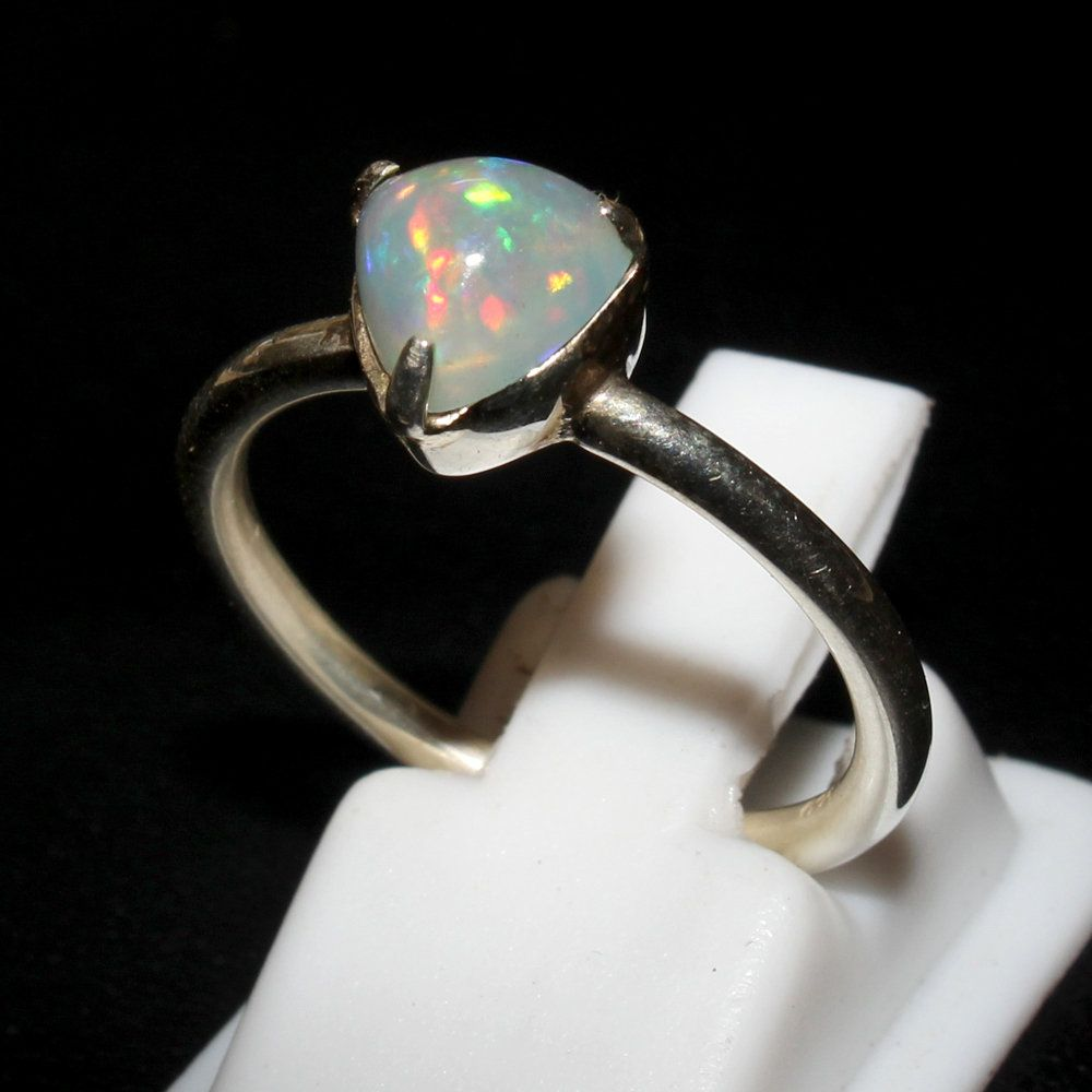 Gemstone Silver Handmade Ring Size Natural Ethiopian Opal Solid 925 Sterling Silver Ring 8.5