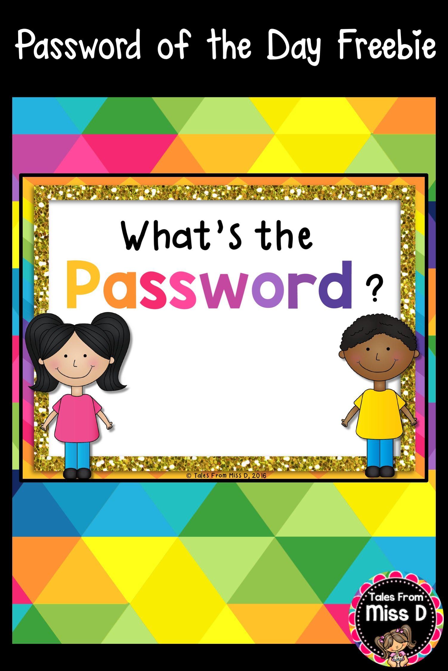 Password of the Day FREEBIE Teacher freebies, Sight
