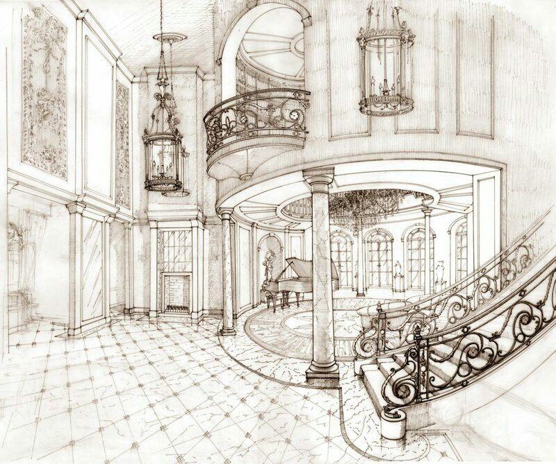 Интерьер дворца раскраска