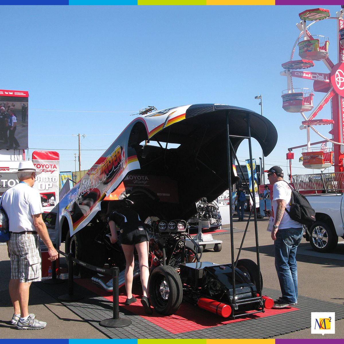 Our PitPass Daytona 500 display for Toyota allowed event attendees to fully experience the makings of a racecar by walking under the lifted exterior of the vehicle. #Toyota #Daytona #racecar #marketing #MC2