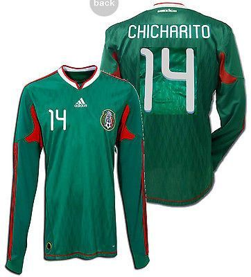 ADIDAS CHICHARITO MEXICO LONG SLEEVE HOME JERSEY 2010 FIFA WORLD CUP ... f3fcc5e91