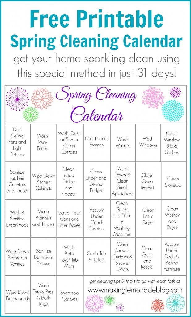 Free Printable Spring Cleaning Calendar-- one task a day gets your - sample spring cleaning checklist