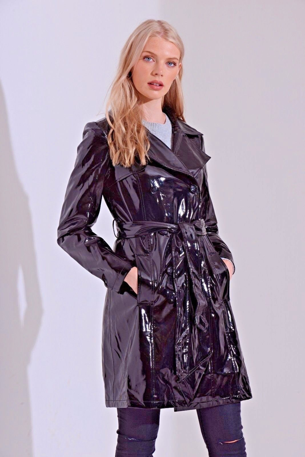6eaa8fd5fe261 Double breasted patent trench coat | debbie harry | Mens raincoat ...