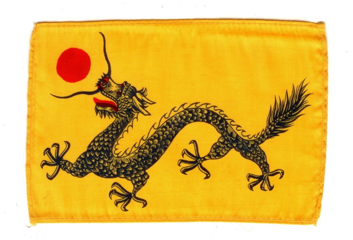 National Flag Of Imperial China This Striking Small Silk Dragon Flag Was The National Flag Of Imperial China This Version Of The National Flag Was Created In