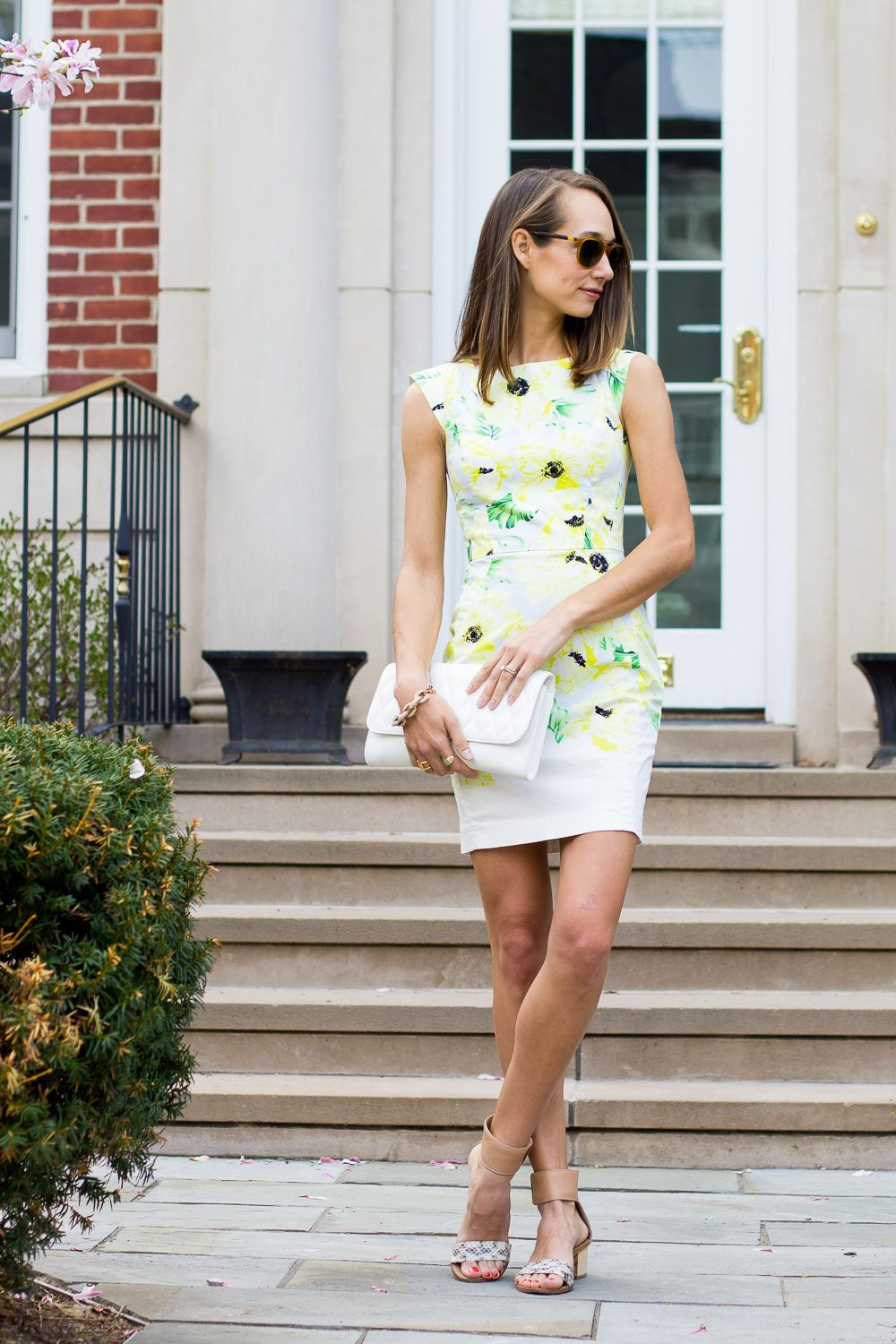 Yellow dress wedding guest  floral bodycon dress frenchconnection jcrew verabradley