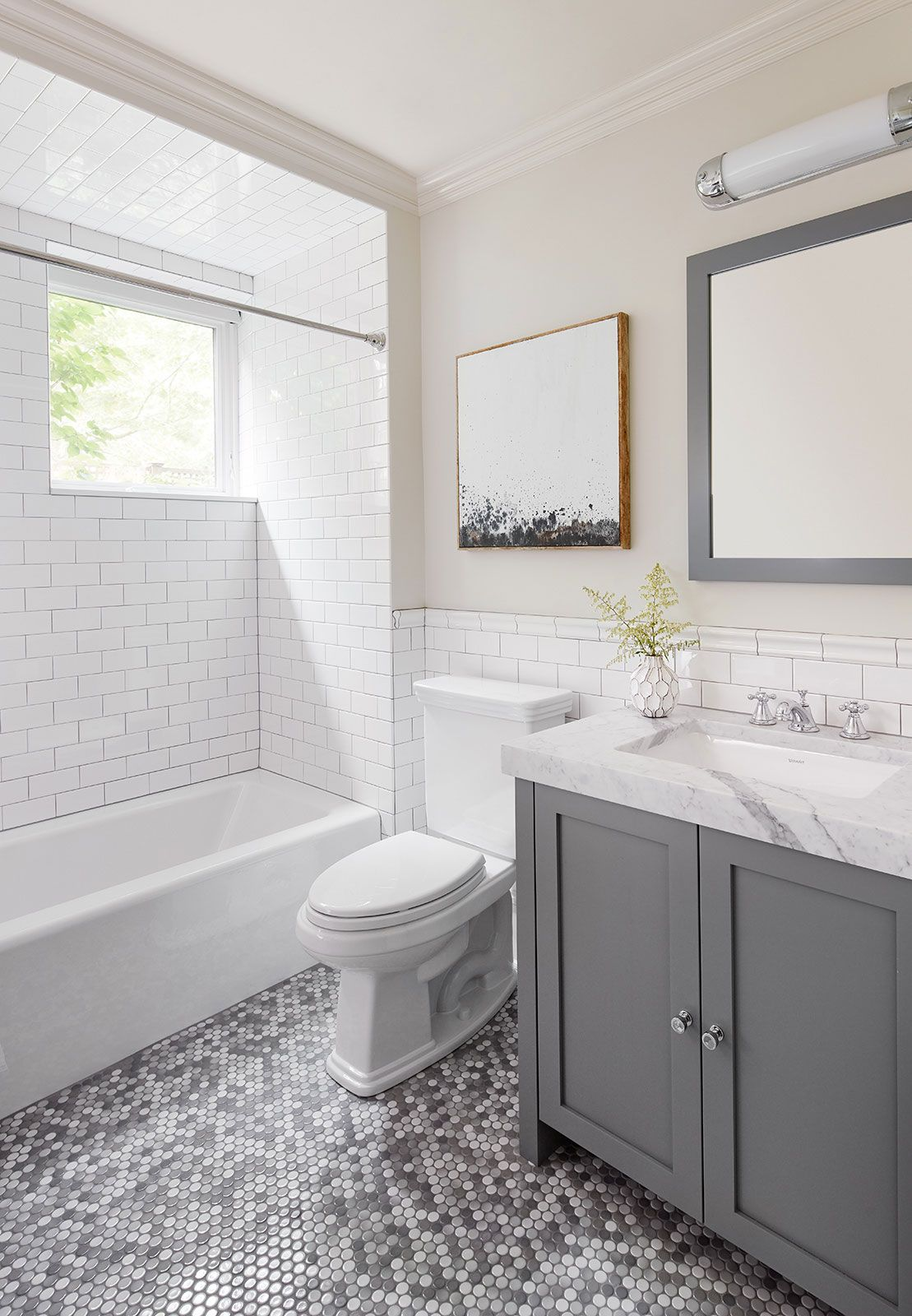 Chic Silver Bathroo Design With Penny Tile Flooring 2to5 Design