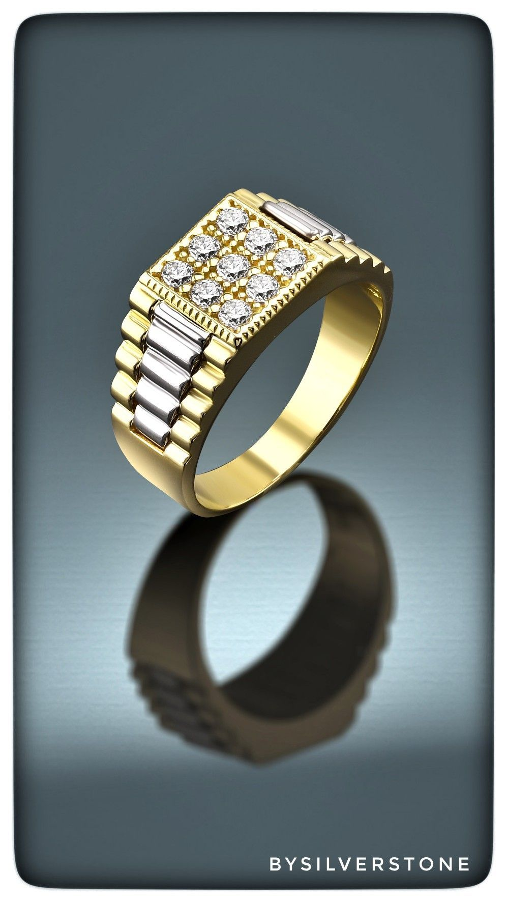 American Set Co 14K Two Tone Gold Round Stone CZ Mens Wedding Band