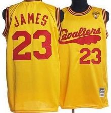 d90a4372043 Cavaliers  23 LeBron James Yellow Throwback The Finals Patch Stitched  Mitchell and Ness NBA Jersey