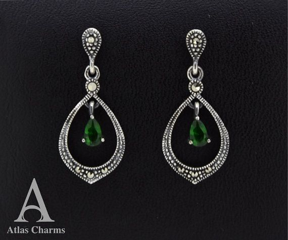 Marcasite Emerald Cz Green Stone Earrings 925 Sterling Silver Long Drop Stud Jewellery Atlas Charm Free Shipping In Uk