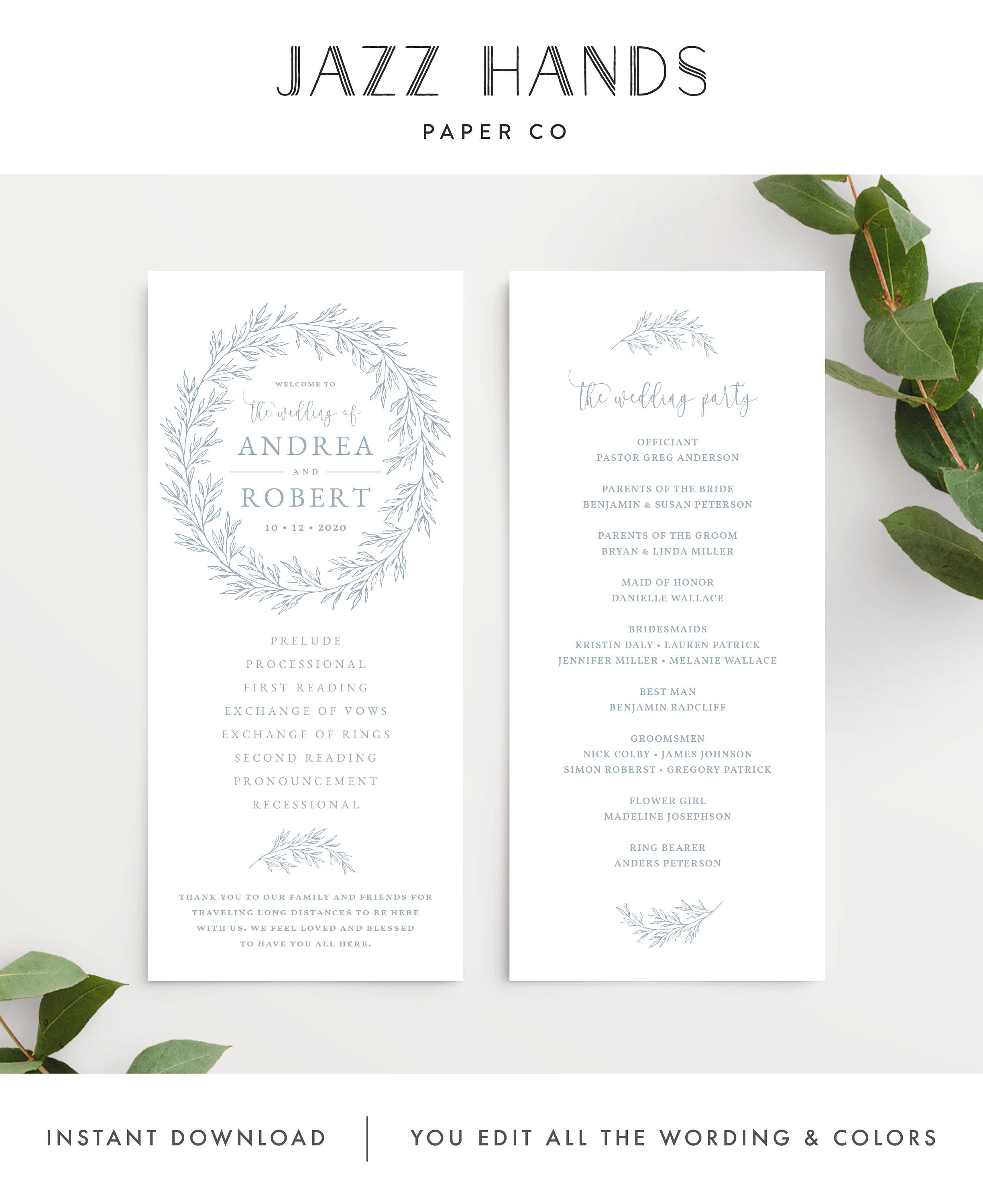 Wedding Program Template Wedding Ceremony Order Of Service Etsy Wedding Programs Template Order Of Wedding Ceremony Wedding Order Of Service