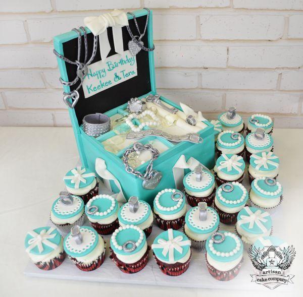 Tiffany Jewelry Box Birthday Cake and Cupcakes tiffany co Jewelry