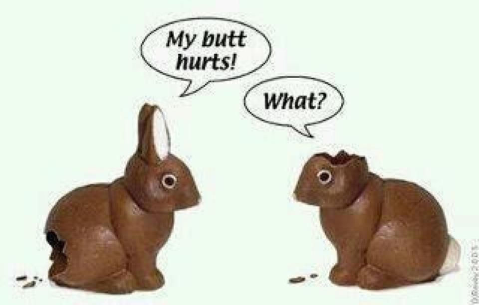 Chocolate Bunny Cartoon With Ear Bitten It Was Just Too Fun Not To