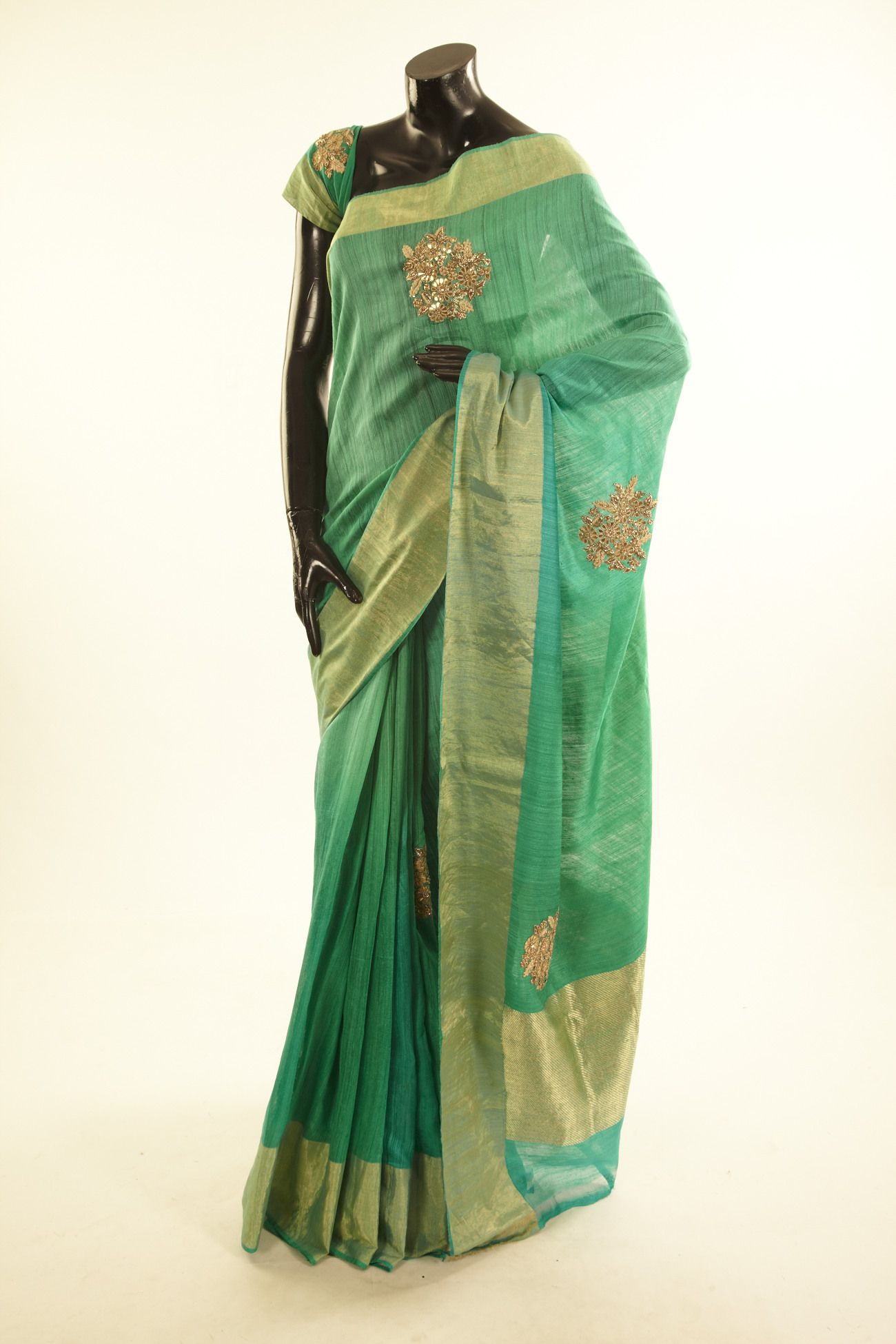 tussar saree with blouse - Embroidery - Sarees