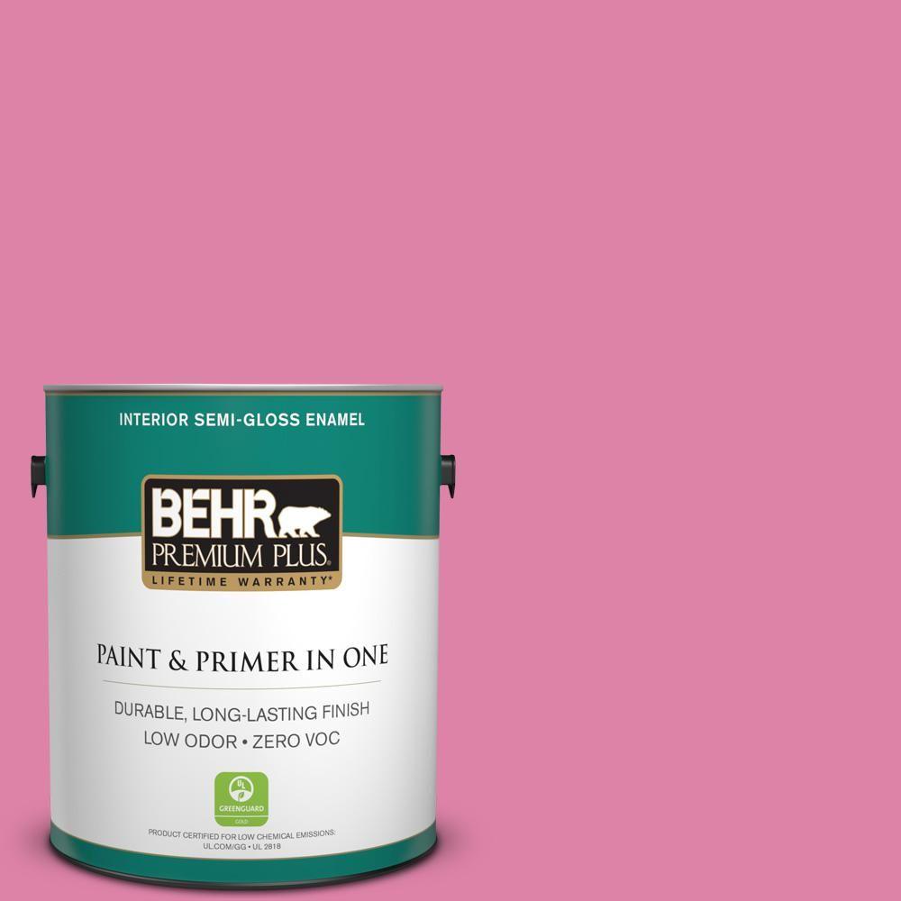 BEHR Premium Plus 1 gal. #hdc-MD-10A Sweet Chrysanthemum Zero VOC Interior Semi-Gloss Enamel Paint