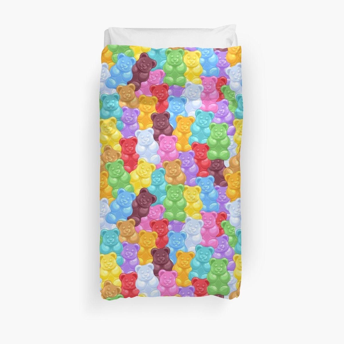 Rainbow Gummy Bear Pattern Duvet Cover By