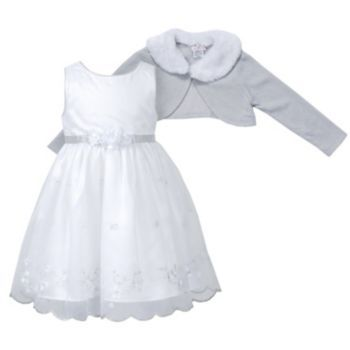 Youngland Embroidered Floral Dress & Shrug Set - Baby ONLY $22