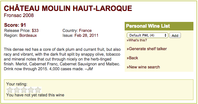 Château Moulin Haut-Laroque Vintage 2008 By James Molesworth / Wine Spectator