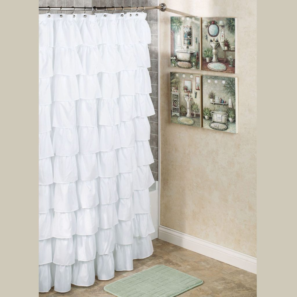 80 quot x72 quot shabby rustic chic burlap shower curtain ivory lace ruffles - Lace Shower Curtains