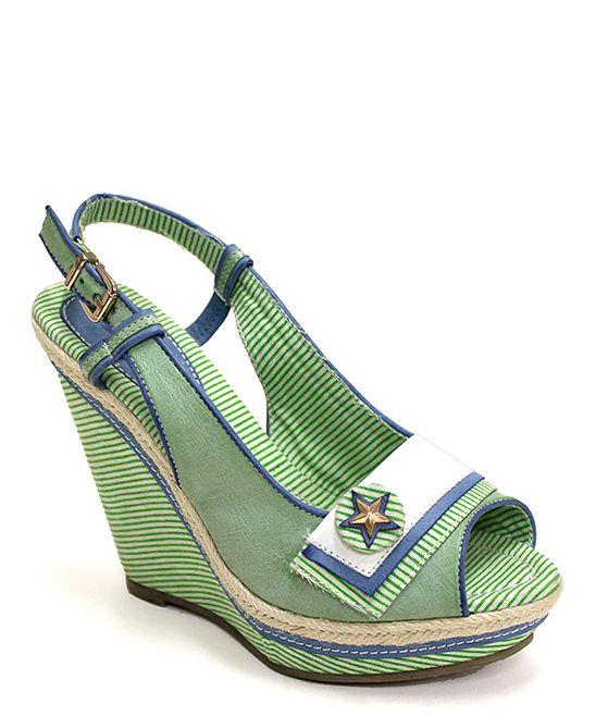 Green Pop Excite Wedge Sandal