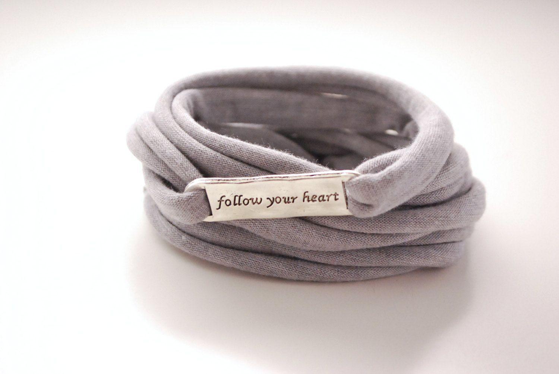 Pick your color follow your heart wrap bracelet light gray stretch