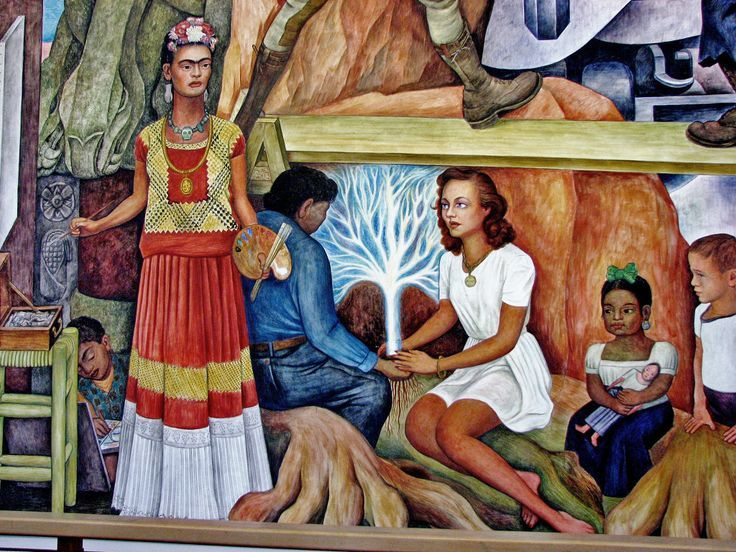 Frida kahlo in a mural painted by diego rivera in 1940 for Diego rivera mural in san francisco