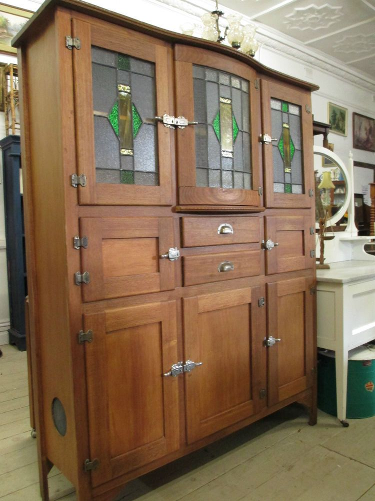Antique restored leadlight cupboard cabinet kitchen for Art deco style kitchen units