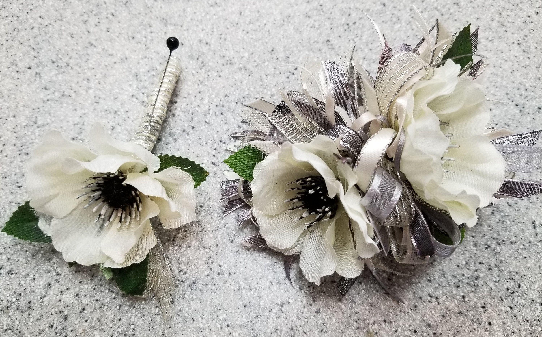 Cream Ivory And Dark Gray Silk Flower Wrist Corsage And Boutonniere