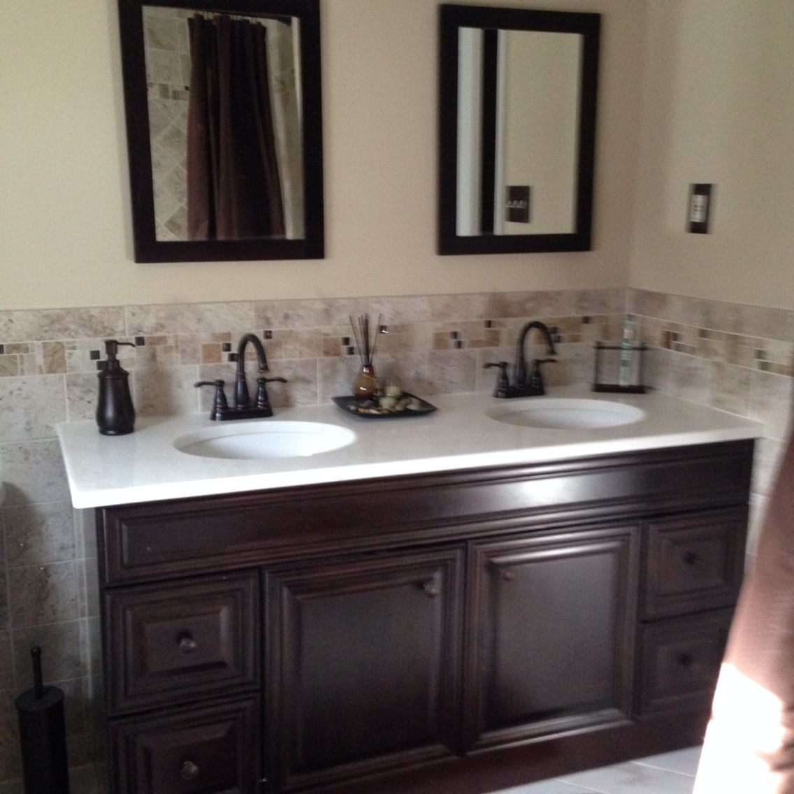 Tan Bathroom: Remodeled Bathroom. Manchester Tan Paint On Walls. Cabinet