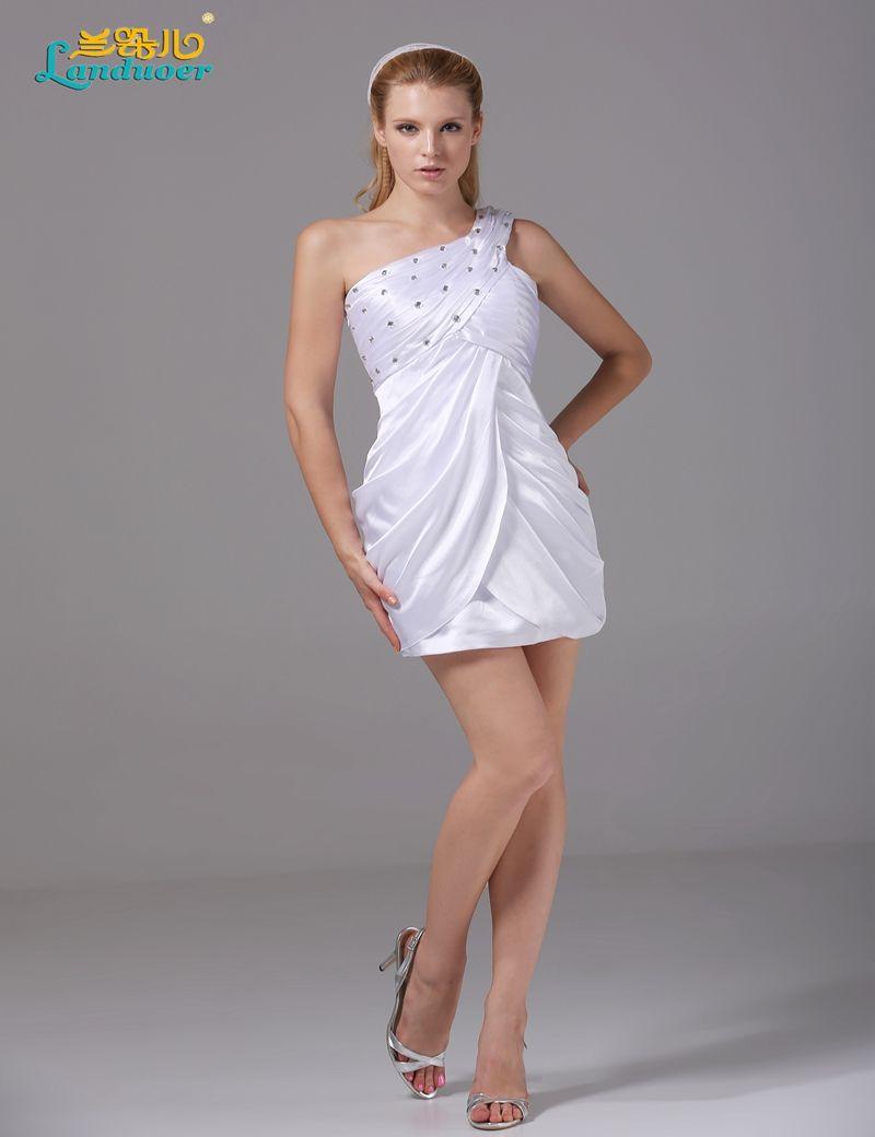 white cocktail dresses short one shoulder crystal slim party