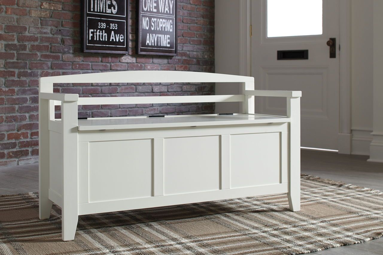 The Charvanna White Storage Bench Available At Payless Furniture And Mattress Serving Columbus Ohio Surrounding Areas