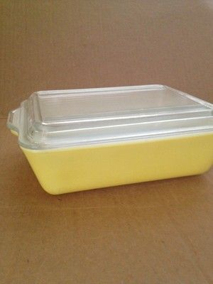 Vintage 1940's Large Yellow Glass Refrigerator Dish w Lid Pyrex Made USA 503B | eBay