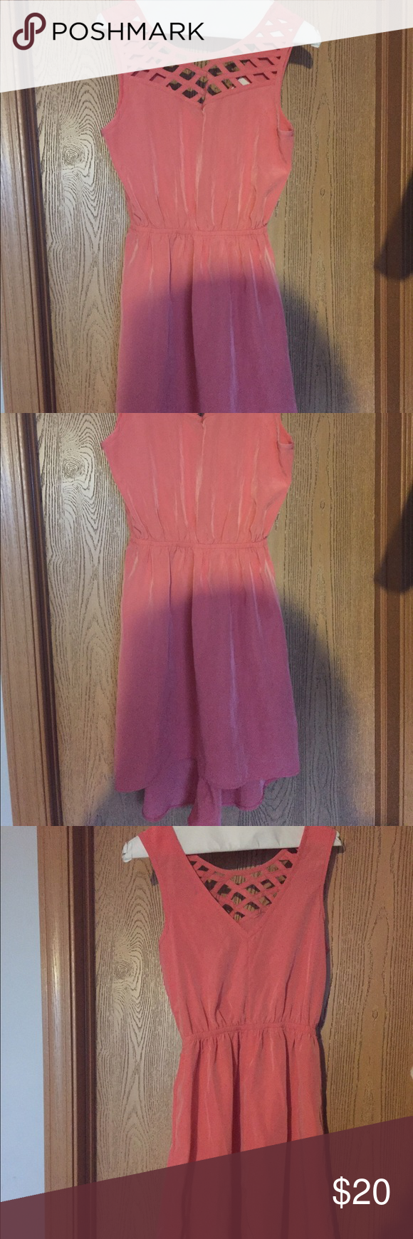 """High/Low Peach Dress, Size S High/low dress that was worn only once. The dress is about 24"""" in the front and 28"""" in the back. It is 100% polyester. one clothing Dresses High Low"""