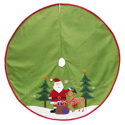 shop holiday living green polyester santa christmas tree skirt at lowes canada find our selection of christmas tree stands skirts at the lowest price - Lowes Christmas Tree Stands
