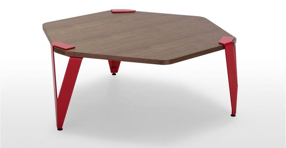 Hexag Une Table Basse Hexagonale Plateau En Noyer Pietement Rouge
