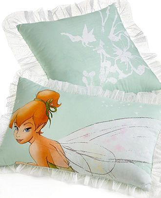 Disney Bedding Tinkerbell Tink Watercolor Decorative Pillow Set