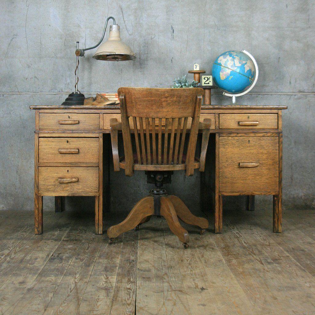 Large Vintage Oak School Teachers Desk Home Office Design