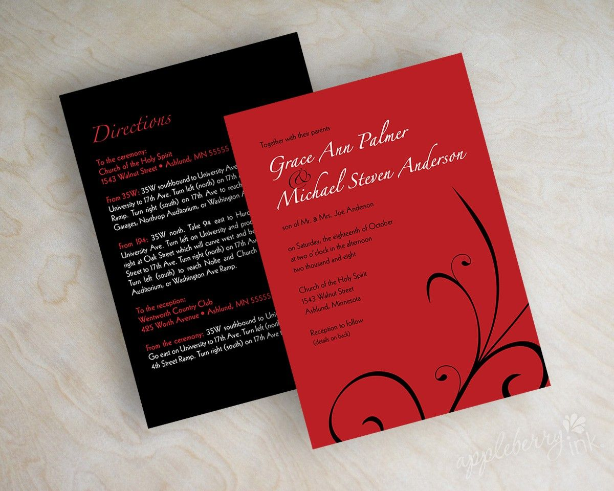 Wedding invitations, contemporary abstract swirl in red and black ...