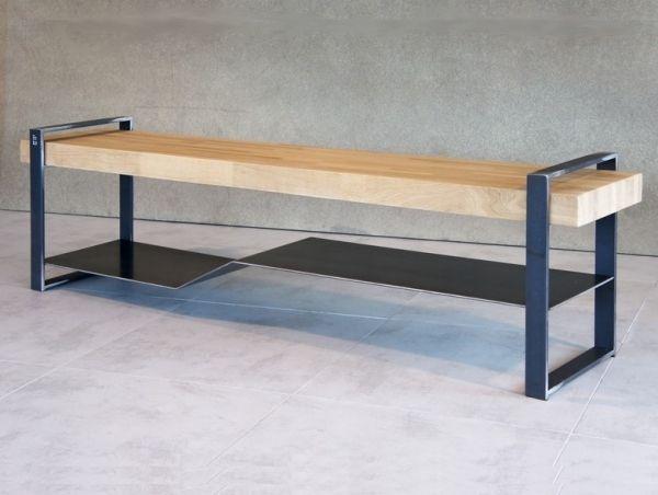 Meuble tv métal plateau bois - Meuble industriel  LoftBoutik