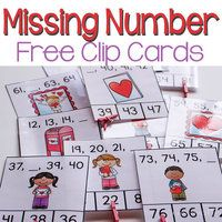 Missing Number Clip Cards Valentine's Day
