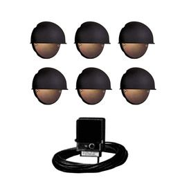 Portfolio 6 light black low voltage incandescent deck lights portfolio 6 light black low voltage incandescent deck lights landscape light kit mozeypictures Choice Image
