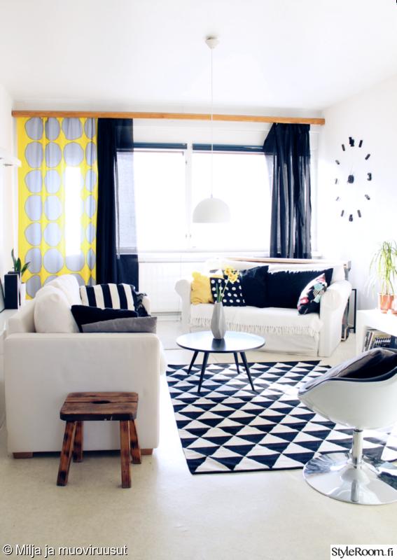 skandinaavinen modernismi (50-60 luku),olohuone,keltainen,mustavalkoinen,puu