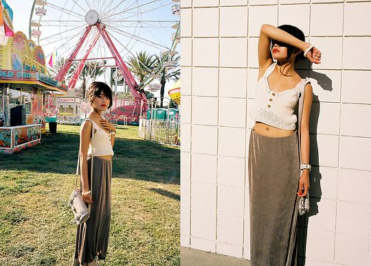 See By Chloé See By Chloe Knit Crop Top, Marc By Marc Jacobs Gold & White Watch, Thrifted Maxi Skirt